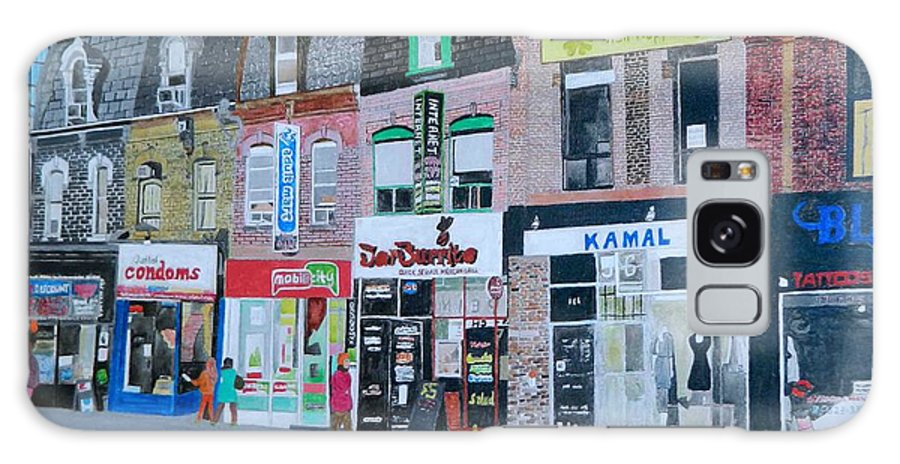 City Scene Of Yonge And Wellesley Toronto Ontario Galaxy S8 Case featuring the painting Yonge And Wellesley by Lisa Faiz