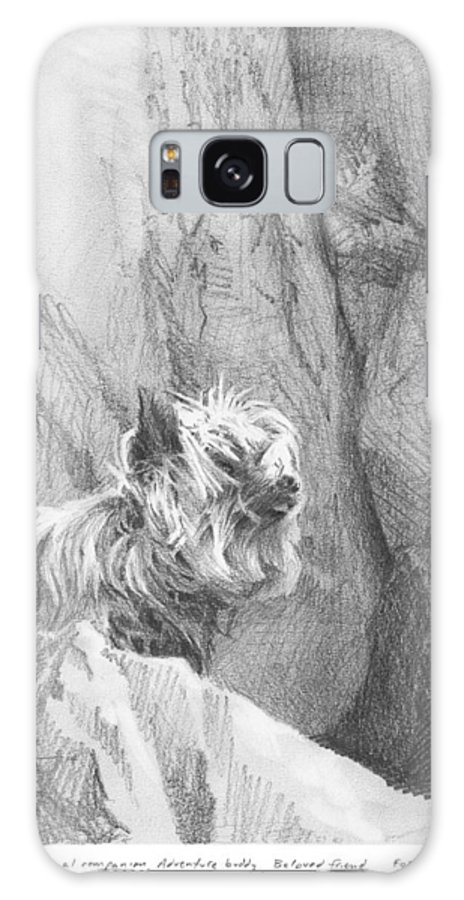 <a Href=http://miketheuer.com Target =_blank>www.miketheuer.com</a> Yorkie Dog On A Cliff Pencil Portrait Galaxy S8 Case featuring the drawing Yorkie Dog On A Cliff Pencil Portrait by Mike Theuer