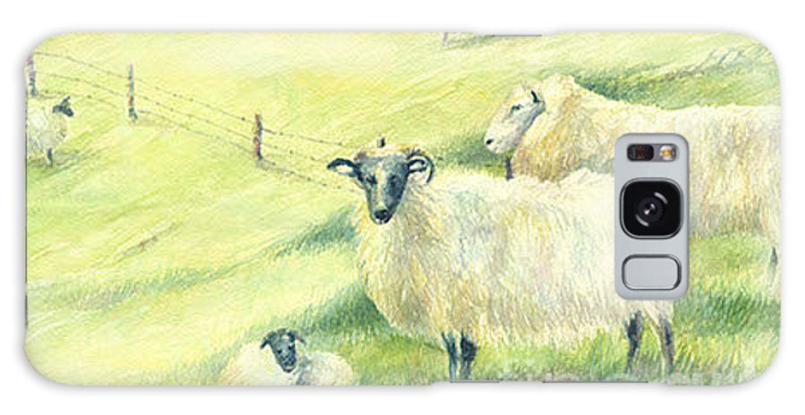 Sheep Galaxy S8 Case featuring the painting You Looking At Me by Valerie Lloyd