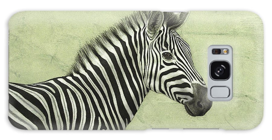 Zebra Galaxy S8 Case featuring the painting Zebra by James W Johnson