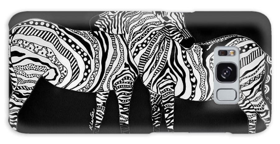 Zebra Galaxy S8 Case featuring the drawing Zebra Love 1 by Karen Larter