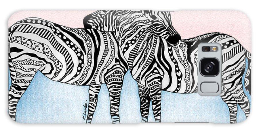 Zebra Galaxy S8 Case featuring the drawing Zebra Love 21 by Karen Larter