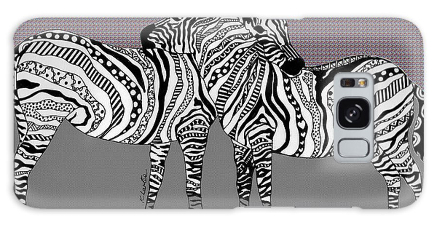 Zebra Galaxy S8 Case featuring the drawing Zebra Love 25 by Karen Larter