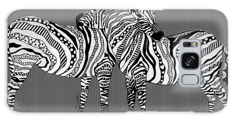 Zebra Galaxy S8 Case featuring the drawing Zebra Love 26 by Karen Larter