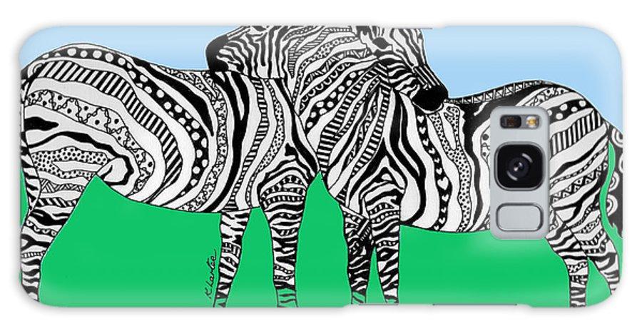 Zebra Galaxy S8 Case featuring the drawing Zebra Love 6 by Karen Larter