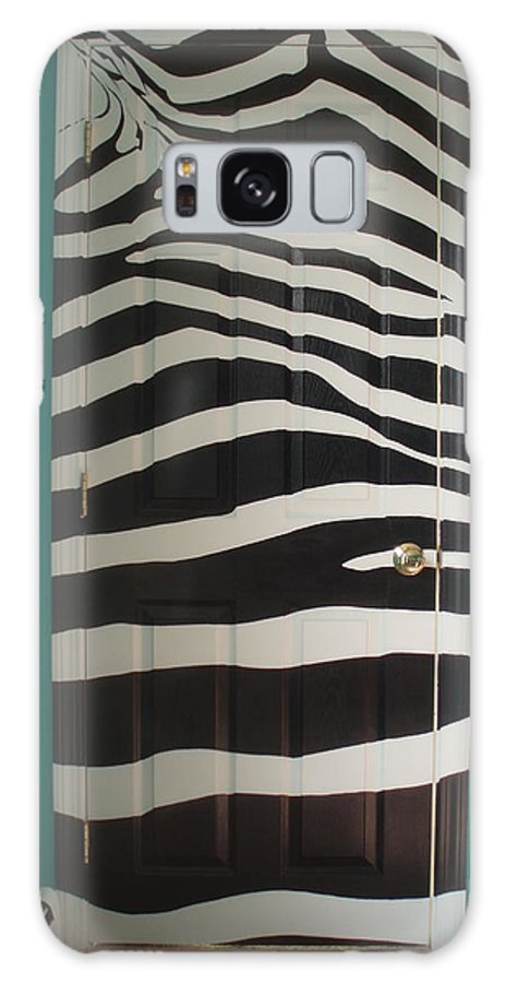 Design;mural; Zebra; Stripes; Wild; Black And White Galaxy S8 Case featuring the painting Zebra Stripe Mural - Door Number 2 by Sean Connolly