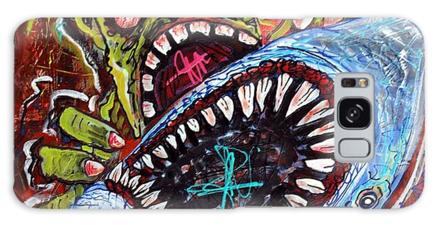 Zombie Galaxy S8 Case featuring the painting Zombie Shark Fight by Laura Barbosa