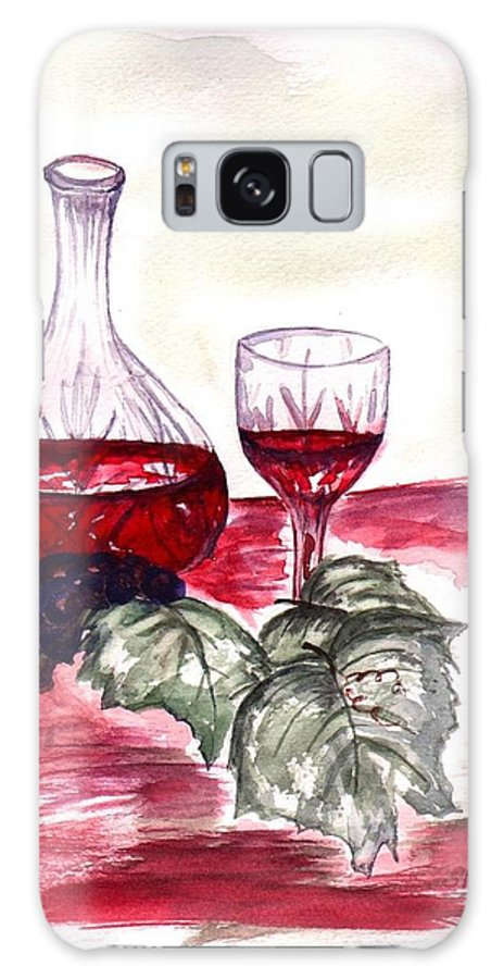 Sharon Mick Galaxy S8 Case featuring the painting Red Wine by Sharon Mick