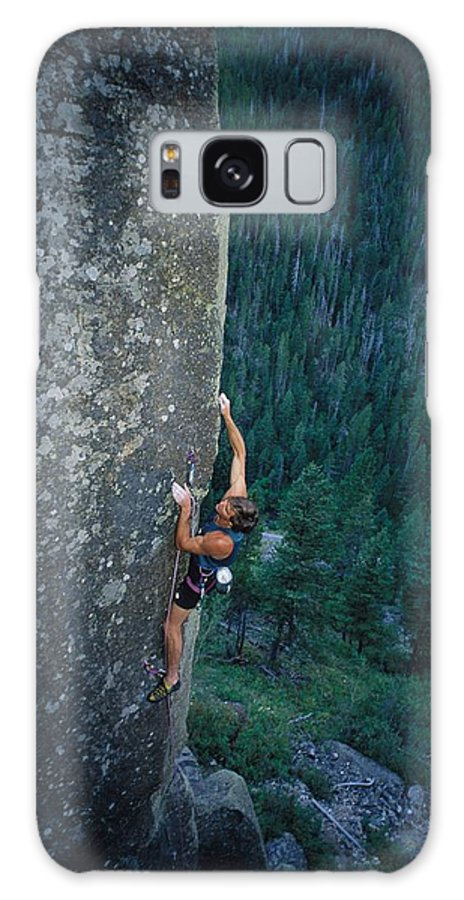Sporting Goods Galaxy S8 Case featuring the photograph A Rock Climber In Montanas Hyalite by Gordon Wiltsie