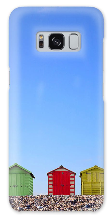 Beach Huts Galaxy S8 Case featuring the photograph Beach Huts And Blue Sky by Richard Thomas