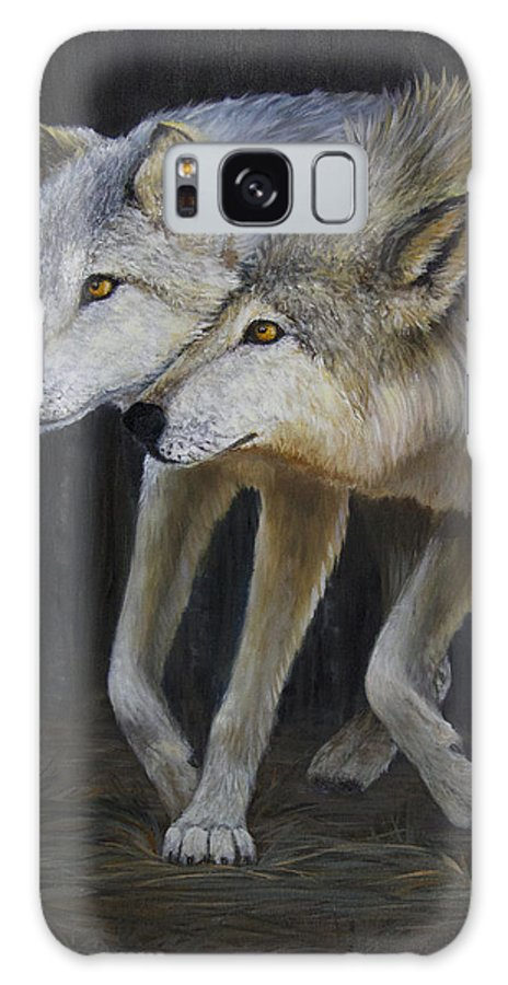 Wolf Galaxy S8 Case featuring the painting Friends by Dee Carpenter