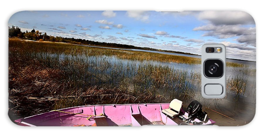 Life Jacket Galaxy S8 Case featuring the photograph Pink Boat In Scenic Saskatchewan by Mark Duffy