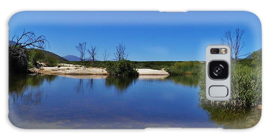 Landscape; River; Water; Namaqualand; Blue; Sky; Summer; Sunlight; Rocks; Trees; Bush; Sand; West Coast; South Africa; Plants; Background; Galaxy S8 Case featuring the photograph River Namaqualand by Werner Lehmann
