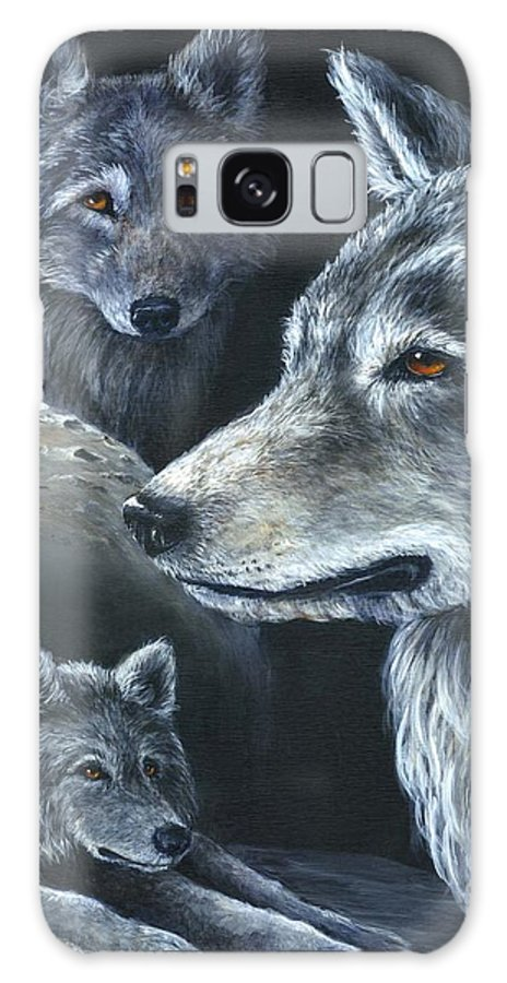 Wolf Galaxy S8 Case featuring the painting Wolf Trio by Sharon Molinaro