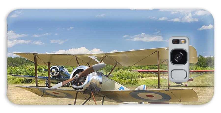 1916 Sopwith Pup Fighter; Biplane; Vintage; Plane; Aircraft; Airplane; Propeller; Transportation; Flight; Military; Old; Antique; Aviation; Wing; Historic; Engine; War; Transport; Technology; Veteran; Army; Airport; Force; Aeroplane; Oldies; Wings; Ww1; Nostalgic; Nostalgia; Glory; Oldtimer; Old-timer; Tail; Runway; History; Fuselage; Warplane; Dogfight; Fighting; Combat; Struts; Classics; Planes; Radial; Fabric; Classic; Obsolete; Historical; Fields; Airfield; Bi-plane; Old-fashioned; Wooden Galaxy S8 Case featuring the photograph 1916 Sopwith Pup Airplane On Airfield Poster Print by Keith Webber Jr