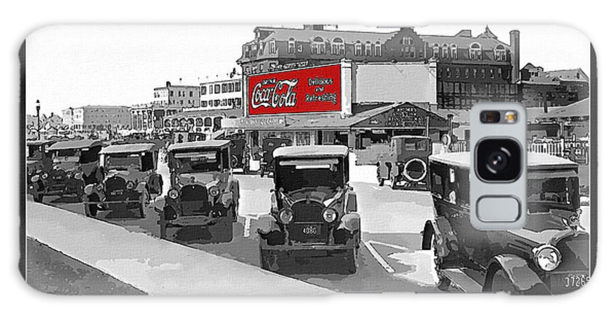 1924 Galaxy S8 Case featuring the photograph 1924 Vintage Automobiles Parked At Atlantic City by Anne Kitzman