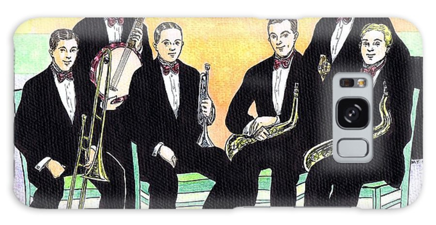 Nostalgia Galaxy S8 Case featuring the drawing 1927 New Yorkers Jazz Band by Mel Thompson