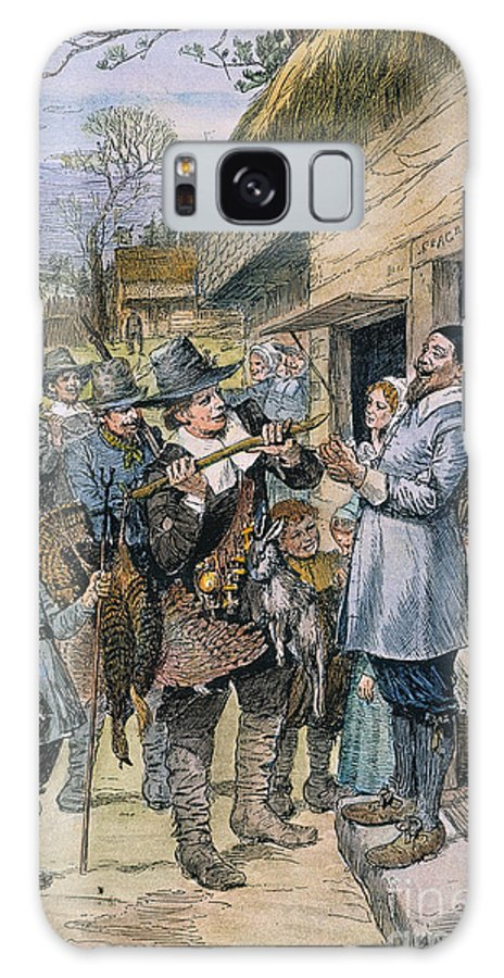 1621 Galaxy S8 Case featuring the photograph Pilgrims: Thanksgiving, 1621 by Granger