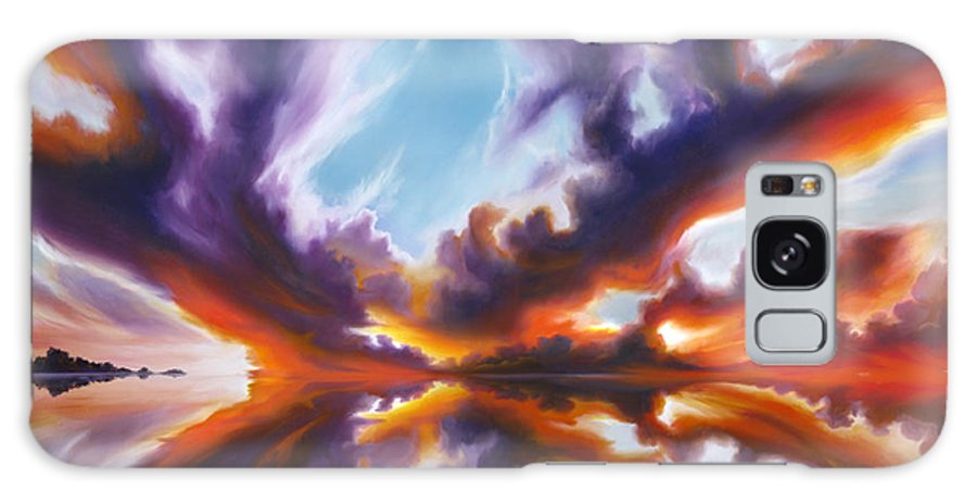 Bright Clouds; Sunsets; Reflections; Ocean; Water; Purple; Orange; Storms; Lightning; Contemporary; Abstract; Realism; James Christopher Hill; James Hill Studios; James C. Hill Galaxy Case featuring the painting Reflections of the Mind by James Christopher Hill