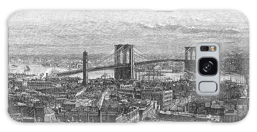 1883 Galaxy S8 Case featuring the photograph Brooklyn Bridge, 1883 by Granger
