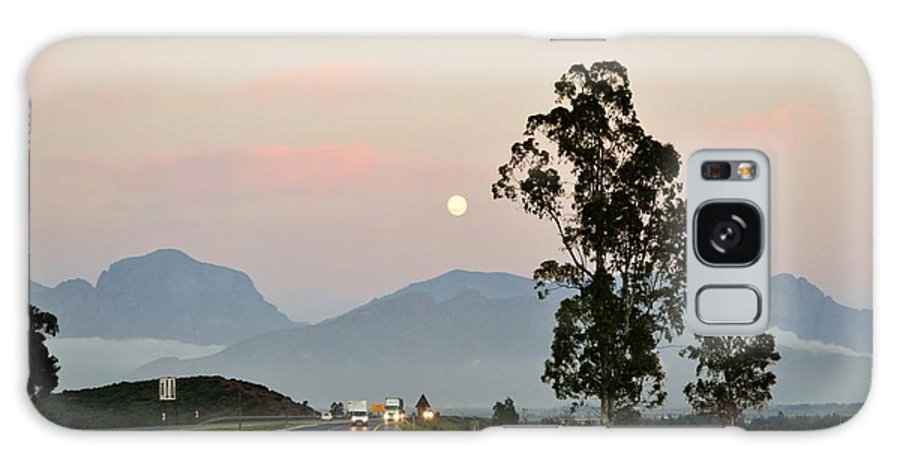 Full Moon; Mountains; Worcester; Western Cape; South Africa; Nature; Landscape; Morning; Morning Light; Sky; Decorative; Background; Galaxy S8 Case featuring the photograph Full Moon by Werner Lehmann