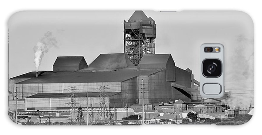 Black&white; Landscape; Steel Works; Building; Factory; Production; Steel; Metal; Hot; Fire; Smoke; Saldanha; West Coast; South Africa; Galaxy S8 Case featuring the photograph Steel Works by Werner Lehmann
