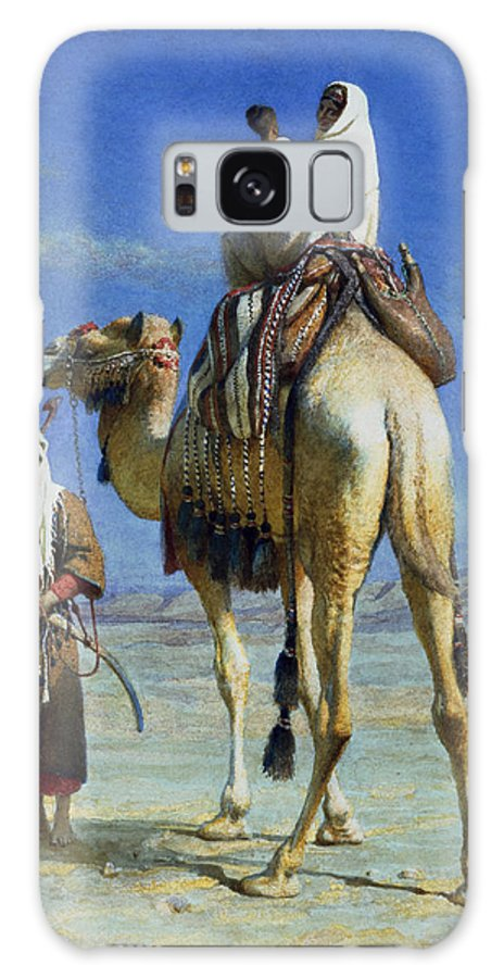 Orientalist; Bedouin; Wadi; Camel; Arab Galaxy S8 Case featuring the painting A Bedoueen Family In Wady Mousa Syrian Desert by Carl Haag