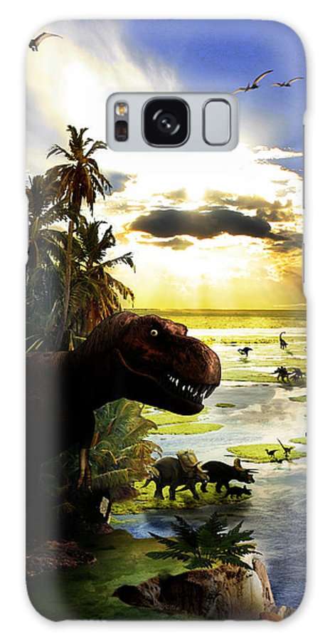 Dinosaur Galaxy S8 Case featuring the digital art A Lost World by Russell Clenney