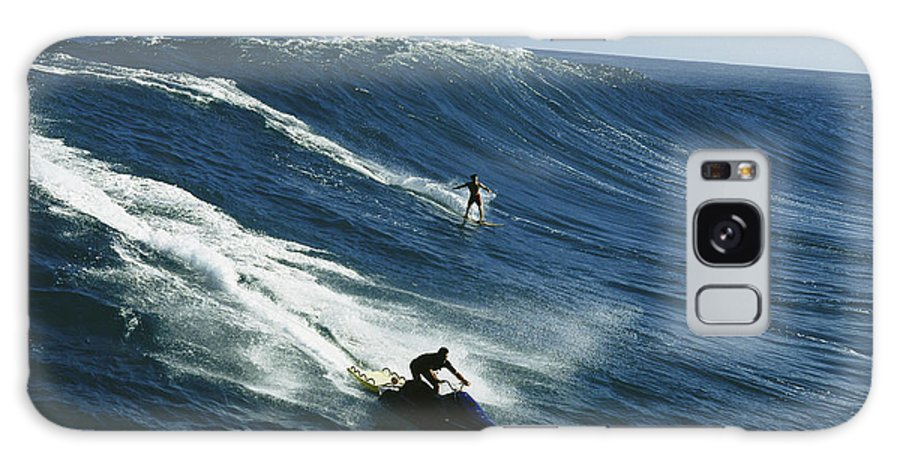 A Surfer And Jet-skier Off The North Shore Of Maui Island. Galaxy S8 Case featuring the photograph A Surfer And Jet-skier Off The North by Patrick Mcfeeley