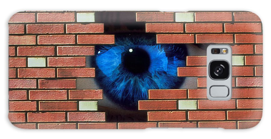 Agoraphobia Galaxy S8 Case featuring the photograph Abstract Of Eye Looking Through Hole In Brick Wall by Mehau Kulyk