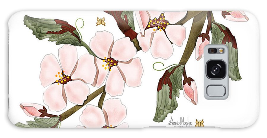 Anne Norskog Galaxy S8 Case featuring the painting Almond Branch With Flowers And Leaves by Anne Norskog
