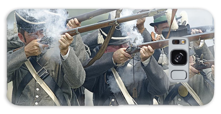 War Of 1812 Galaxy S8 Case featuring the photograph American Infantry Firing by JT Lewis