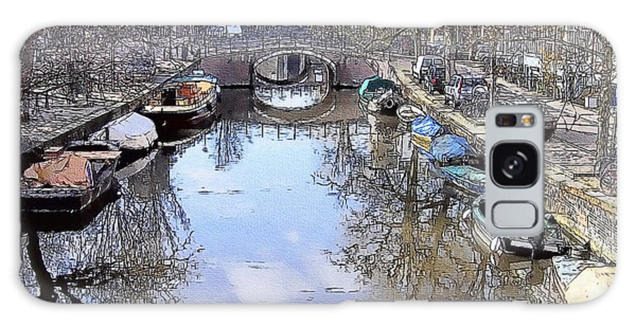 Amsterdam Galaxy S8 Case featuring the painting Amsterdam Canal by Tom Schmidt