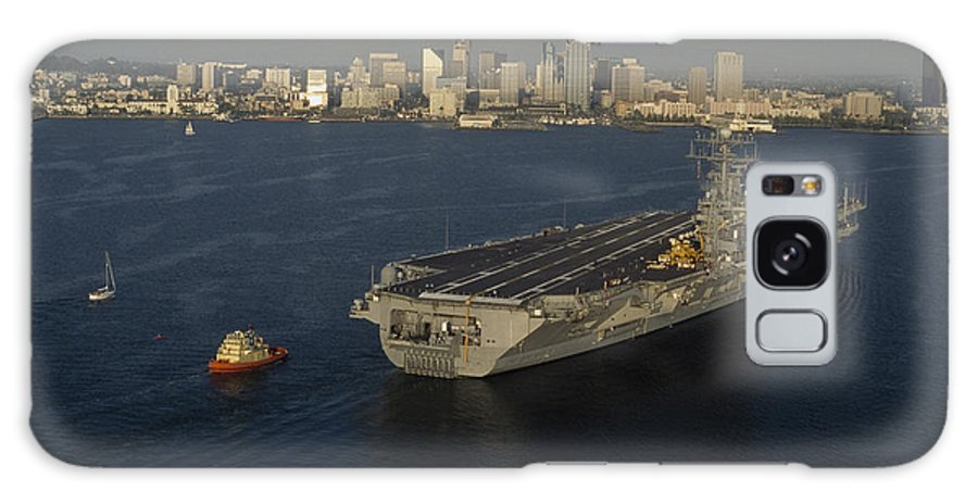 Outdoors Galaxy S8 Case featuring the photograph An Aircraft Carrier With The Skyline by Phil Schermeister