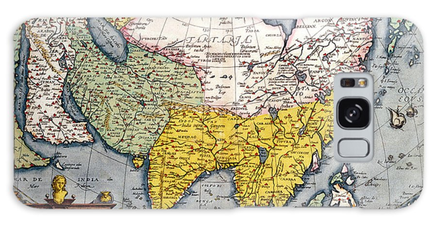 Maps Galaxy S8 Case featuring the drawing Antique Map Of Asia by Claes Jansz