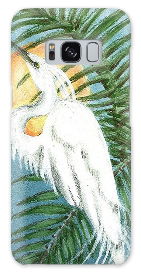 Galaxy S8 Case featuring the painting Art Deco Egret by Sue Lewis