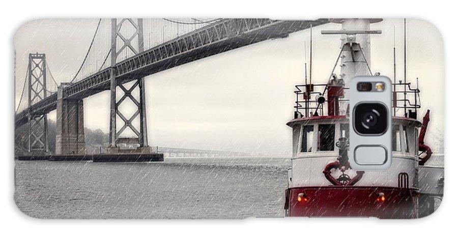 Bridge Galaxy S8 Case featuring the photograph Bay Bridge And Fireboat In The Rain by Jarrod Erbe
