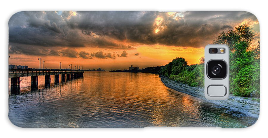 Belle Isle Galaxy S8 Case featuring the photograph Sunset At Belle Isle Pier Detroit Mi by Nicholas Grunas