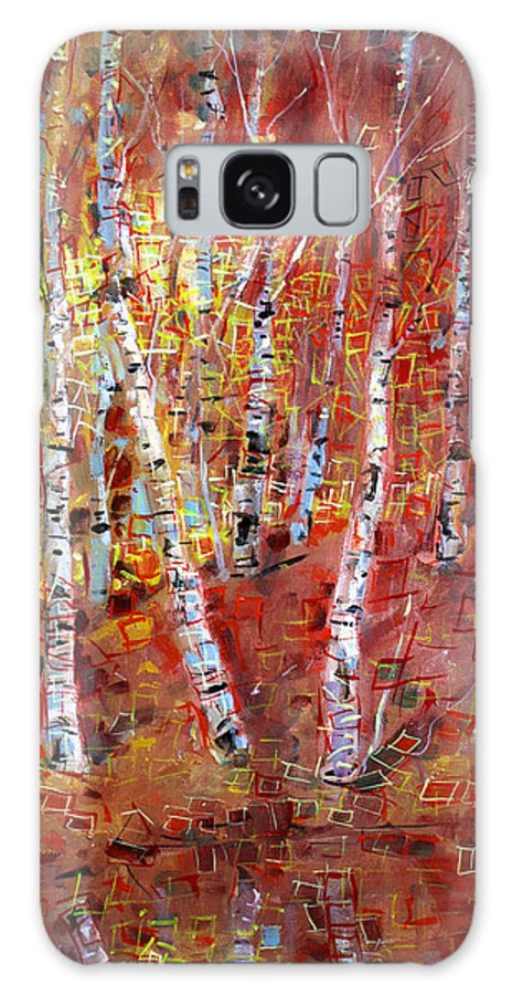 Birch Trees Galaxy S8 Case featuring the painting Birch Trees by Viola El