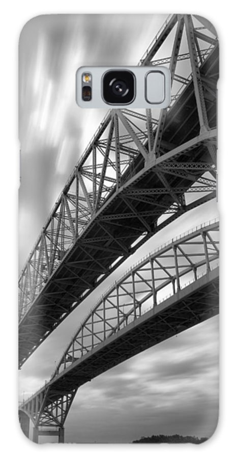 Port Galaxy S8 Case featuring the photograph Black And White Blue Water Bridge by Gordon Dean II
