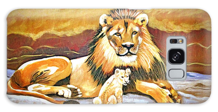 Black Maned Lion Galaxy S8 Case featuring the painting Black Maned Lion And Cub by Phyllis Kaltenbach
