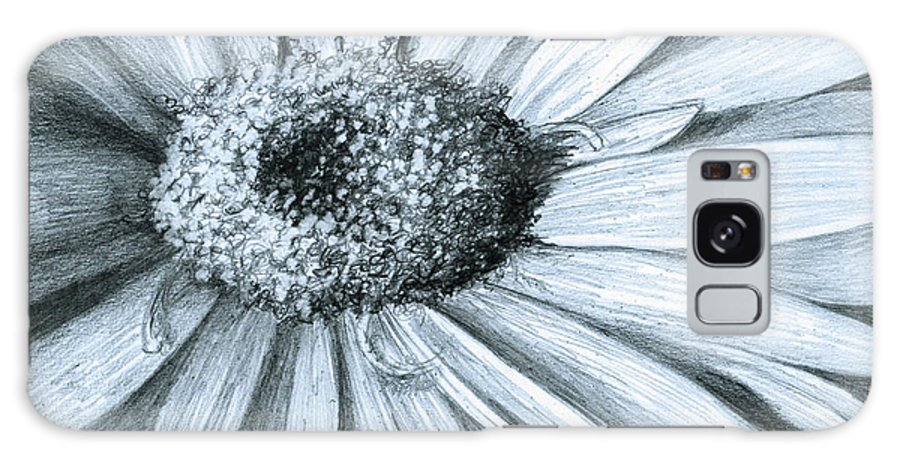 Flower Galaxy S8 Case featuring the drawing Black White Gerber by Phyllis Howard