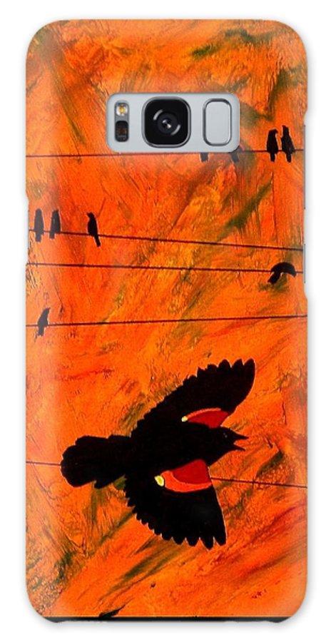 Blackbird Galaxy S8 Case featuring the painting Blackbird by Jim Harris