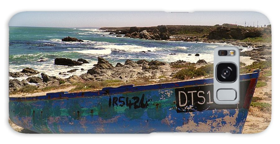 Landscape; Blue; Wooden; Boat; Atlantic Ocean; Westcoast; Namaqualand; South Africa; Waves; Summer; Sunlight; Sky; Old; Rock; Sand; Beach; Background; Galaxy S8 Case featuring the photograph Blue Boat by Werner Lehmann