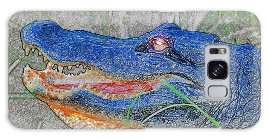 Alligator Galaxy S8 Case featuring the painting Blue Gator by David Lee Thompson