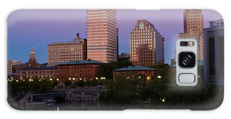 Blue Moon Galaxy S8 Case featuring the photograph Blue Moon Over Downtown Providence 2 by Nancy De Flon