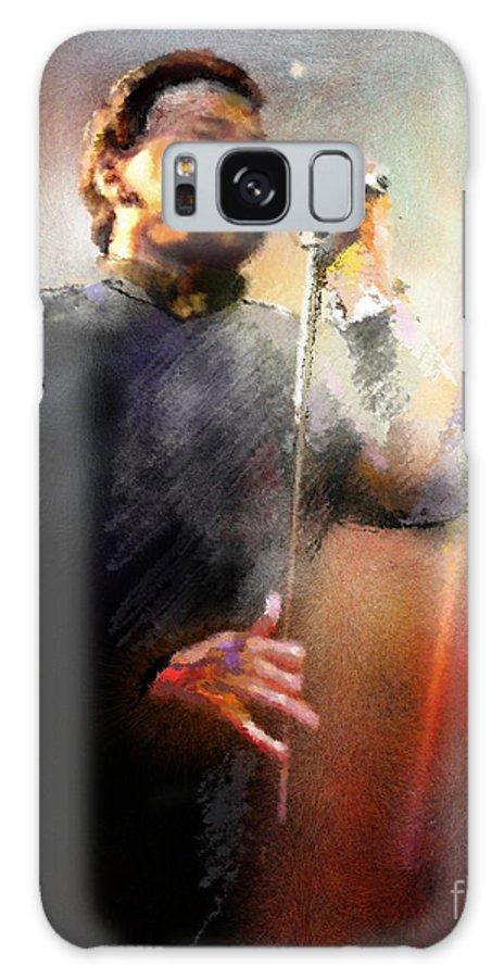 Musicians Galaxy S8 Case featuring the painting Bobby Kimball From Toto 01 by Miki De Goodaboom