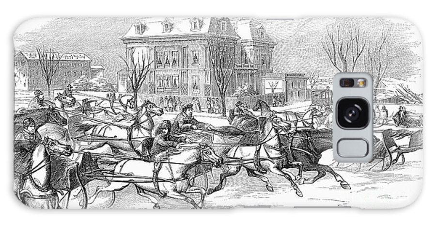 1854 Galaxy S8 Case featuring the photograph Boston: Sleighing, 1854 by Granger