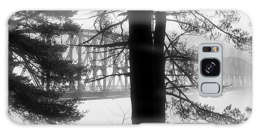 Bridge Galaxy S8 Case featuring the photograph Bridge In The Fog Bw by Mark Dodd
