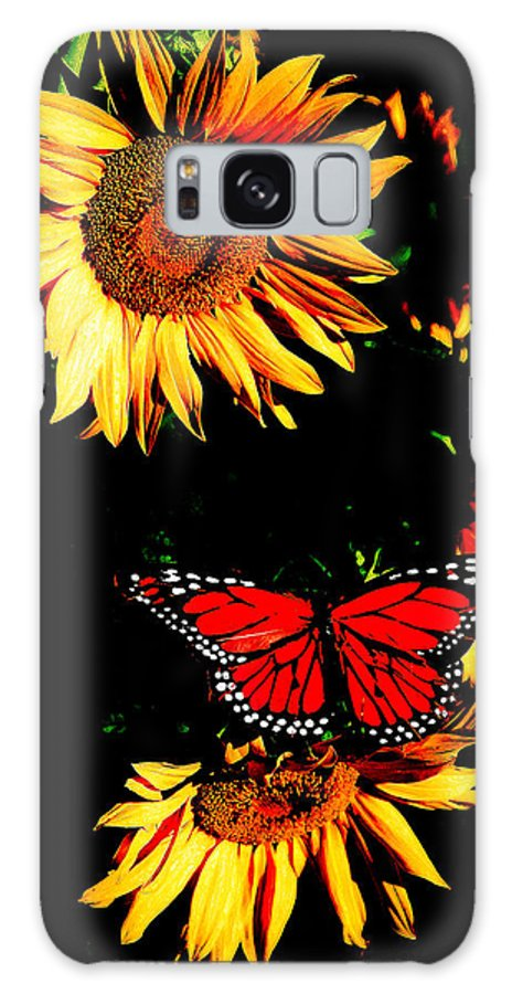 Sunflower Galaxy S8 Case featuring the photograph Butterfly And Sunflower by Steve McKinzie